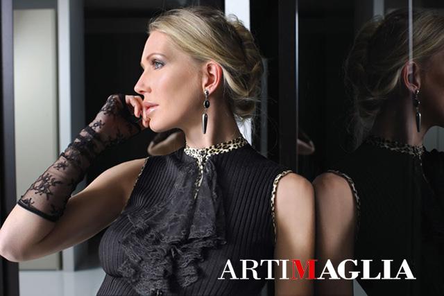 【ARTIMAGLIA】【アートマリア】イタリア製シルクXウール長袖トップ