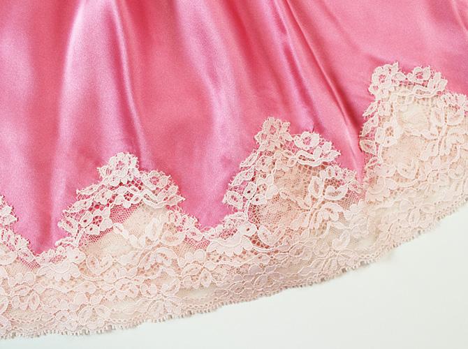 【Aubade】【オーバドゥ】《Crepuscule Satine》VI40 シルクスリップ Pink Fizz